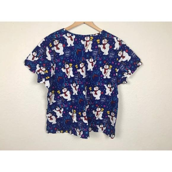 ea79fea2b81 Disney Tops - Top Scrub Snow Man Christmas Short Sleeve Plus 3X
